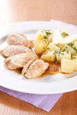 Pork rolls with sauerkraut and boiled potatoes — Stok fotoğraf