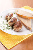 Meat dumplings stuffed with cheese and onion bread — Stock Photo