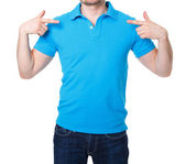 Blue polo shirt on a young man template — Stock Photo