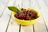 Yellow bowl full of fresh cherries — Stock Photo