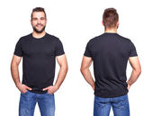 Black t shirt on a young man template — Stock Photo