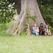 Three happy female friends sitting near big tree - Stock Photo