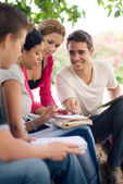 College students doing homeworks in park — Stock Photo