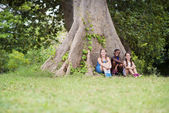 Three happy female friends sitting near big tree — Stock Photo
