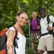 Royalty-Free Stock Photo: With backpack doing trekking in wood