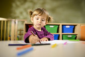 Babies and fun, child drawing at school — Stock Photo