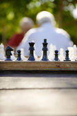 Active retired , two old friends playing chess at park — Stock Photo