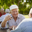 Active retired seniors, two old men playing chess at park — Stock Photo