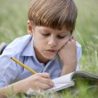 Young school boy doing homework alone, lying on grass — ストック写真