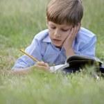 Young school boy doing homework alone, lying on grass — Stock Photo