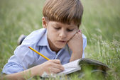 Young school boy doing homework alone, lying on grass — Stock Photo
