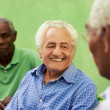 Group of old black and caucasian men talking in park — Stock Photo #22495529