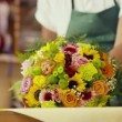 Client paying florist in flower shop with credit card — Stock Video