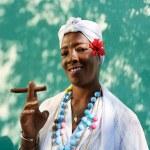 Portrait of cuban black woman smoking cigar — Stock Photo #48428707