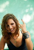 Portrait of young woman in heavy metal style — Stockfoto
