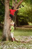 Two children helping and climbing on tree in park — Stock Photo