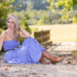 Blonde In Blue Dress — Stock Photo #13634450