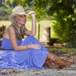 Blonde In Blue Dress — Stock Photo #13634451