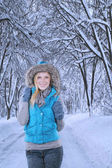 Blond zimní ženský model — Stock fotografie
