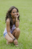 African-American Model In Park — Stock Photo