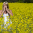 Stock Photo: Model In Field Of Flowers