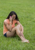 Asian Model On Telephone In Park — Stock Photo