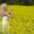 Model In Field Of Flowers — Foto Stock