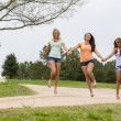 3 Girls Enjoying The Park — Stock Photo #26183249