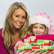 Little Girl With Presents — Stockfoto