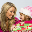 Mother and Daughter with Presents — Stock Photo