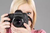 Model With Modern Camera — Stock Photo
