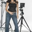 Brunette Model With Photography Equipment — Stock Photo