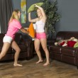 Stock Photo: Slumber Party Pillow Fight