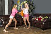 Slumber Party Pillow Fight — Stock Photo