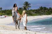Nude Model on Horseback — Stock Photo