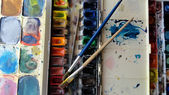 Färger, penslar. — Stockfoto