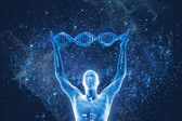 DNA molecules and human — Stock Photo