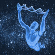 DNA molecules and men — Stock Photo