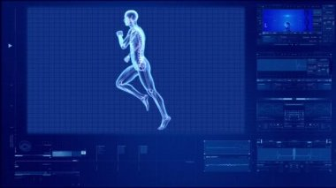 X-ray human body of a man with skeleton running — Vidéo