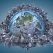 Globe and urbanization. Elements of this image furnished by NASA — Stock Photo