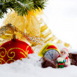 Christmas composition with snow and Christmas decoration. — Stock Photo