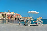 Greece. Chania. Horse carriage for a stroll. — Stock Photo