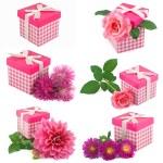 Photo set of six gift boxes — Stock Photo #12367380