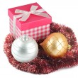 New year gift box and Christmas balls — Stock Photo