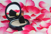 Powder and brush and rose petals — Stock Photo