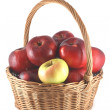 Apple pile of red apples in a basket — Stock Photo