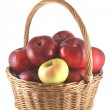 Apple pile of red apples in a basket — Stock Photo #14326583