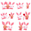 A set of six photographs. Easter bunnies from eggs isolated on white background — Stock Photo