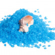 Marine Blue bath salt and shell isolated on white background - Stock Photo