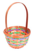 Empty colored wicker basket isolated on white background — Stock Photo
